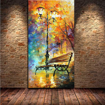 Large Handpainted Abstract Modern Wall Painting Rain Tree Road Palette Knife Oil