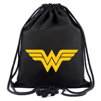 Hero Wonder Woman Canvas Drawstring Bag Anime Deadpool Batman Superman Captain America Hulk Pouch Kids Drawstring Backpack Bags