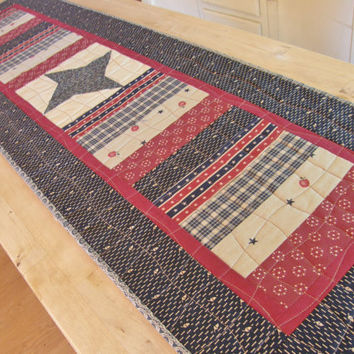 Memorial Day Quilted Table Runner - Americana Patriotic 4th of July Quilt