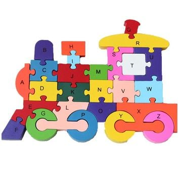 DOUYYE Education Letter and Number Toy, Interactive Kids Play Game ,Wooden Blocks Train Shape Jigsaw Puzzles Toys for 3 4 5 year old and Up Boys Girls Toddlers Preschool Children Babies (26 pcs)