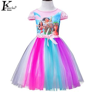 Beautiful Summer Girls Dress Children MOANA Dresses For Girls Clothes Short Sleeve Chiffon Party Princess Dress Costume For Kids