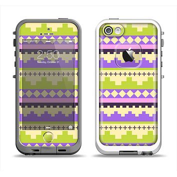 The Purple & Green Tribal Ethic Geometric Pattern Apple iPhone 5-5s LifeProof Fre Case Skin Set