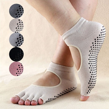 "2015 Sporting Colorful 5-Toe Exercise ""Barefoot Feel"" Yoga Toe Socks Cotton = 1932251780"