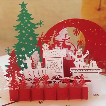 Hot Sale 3D Christmas Cards Greeting DIY Paper Card Personalized Keepsakes Postcards For Xmas Wedding Birthday Invitation OB
