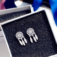 925 Silver Dream Catcher Hollow Out Feather Korean Accessory Earrings [8740060551]