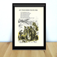 As I Was Going to St. Ives, I Met a Man With Seven Wives, Fairy Tale & Children's Home Decor Print (1970s} Vintage Book Page