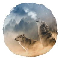 Wolves Howling at Moon Round Throw Pillow