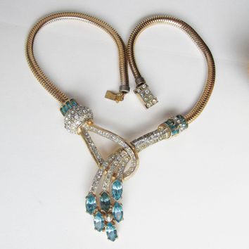Retro Ca. 1948 Adolph Katz for CORO Aqua Rhinestone Vintage Choker Necklace