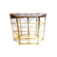 Mirrored Brass Glass Curio Display Case Shelf Box