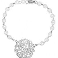 """Personalized Monogram Pearl Initials Bracelet 0.8"""" Sterling Silver"""