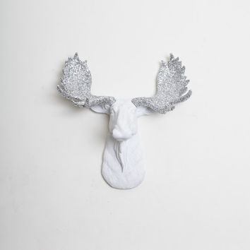 Faux Moose - The MINI Theodora - White w/ Silver Glitter Antlers Resin Moose Head- Moose Resin Faux Taxidermy- Chic & Trendy