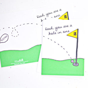 Dad you are a hole in one golf pun greeting card for fathers day dads birthday golf joke green yellow card.