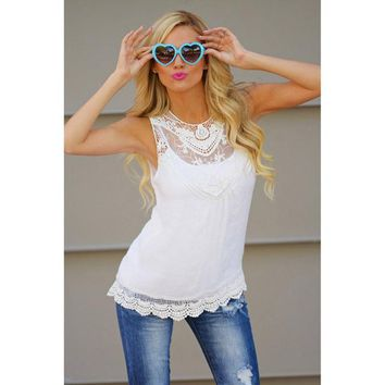 2018 Cotton Lace Blouse Sleeveless