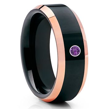 Amethyst Tungsten Wedding Band - Rose Gold Tungsten Ring - Black Tungsten