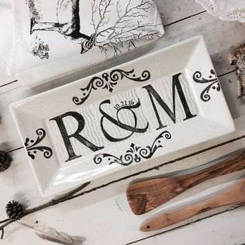 Personalized Initial Wedding Rectangle Platter