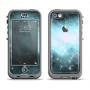 The Bright Blue Vivid Galaxy Apple iPhone 5c LifeProof Nuud Case Skin Set