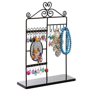 MyGift Black Metal Scrollwork Heart Design Jewelry Hanging Tower / Earrings Necklaces Display Stand Rack