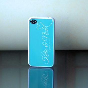 Personalized Phone Case for Couples, Bridal Accessory, Something Blue, Rubber Silicone Custom iPhone Case