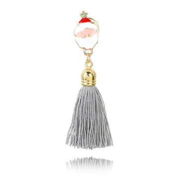 Fringed brooch _ Santa Claus long paragraph gray tassel brooch collar pin [186326548506]