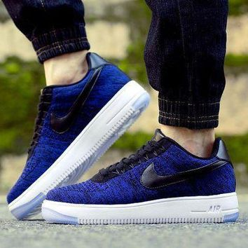 CREYNW6 Originals Nike Air Force One 1 Flyknit Low Blue / Black / White Running Sport Casual Shoes '07 817419-400 Sneakers