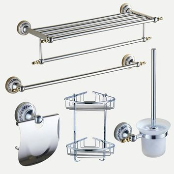 Polished Bathroom Hardware Sets Chrome Silver Bathroom Accessories Set Ceramic Base Bathroom Products Wall Mounted