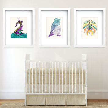 15% OFF Kids Whimsical Animal Series 8x10 or 11x14 - Set of 3 Discounted Poster Prints