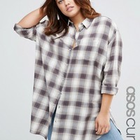 ASOS CURVE Oversized Shirt In Check at asos.com