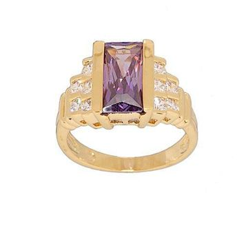 Contemporary Fancy Cut Amethyst Cubic Zirconia Fashion Ring with Step Design