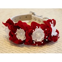 Red Ruby Floral Dog Collar, Red Ruby Wedding dog accessory