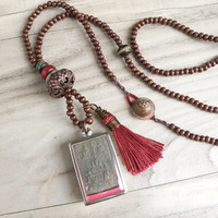 Long Mala Tassel Necklace, Buddha Shrine Pendant, Dark Wood Beads, Earthy Red Tassel