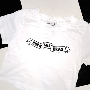 SWEET LORD O'MIGHTY! BURN ALL BRAS CROP TEE IN WHITE