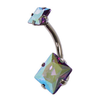 14G AB Square Princess Cut Belly Bar