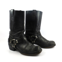 Black Harness Boots Vintage 1970s motorcycle Leather men's size 10 1/2