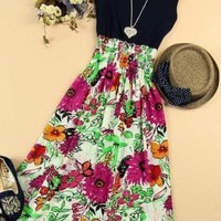Sleeveless Vest Floral Length Tiered Dress