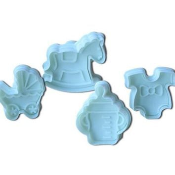 4Pcs Baby Type Plastic Baking Mold,Kitchen Biscuit Cookie Cutter Pastry,Plunger 3D Stamp Die Fondant Cake Decorating Tools