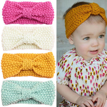 Headband Crochet Knit Hairband Winter Flower Baby Ear Warmer Headwrap