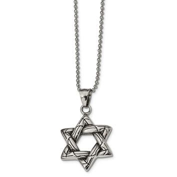 Stainless Steel Antiqued and Polished Star of David Necklace 22in