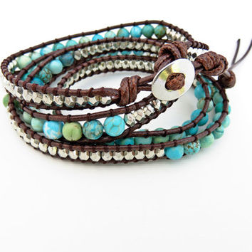 Imitation Stone and Silver Beaded Wrap Bracelet