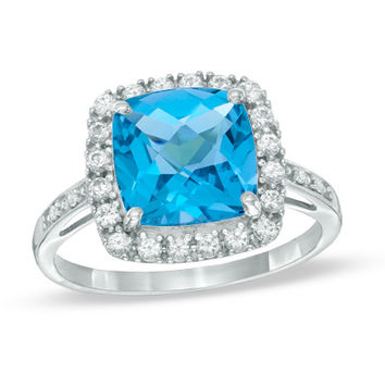 Cushion-Cut Blue Topaz, Lab-Created White Sapphire and Diamond Accent Frame Ring in 10K White Gold - Size 7