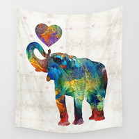 Colorful Elephant Art - Elovephant - By Sharon Cummings Wall Tapestry by Sharon Cummings