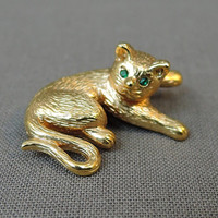 Vintage Krementz Cat Brooch, 3D Laying Kitty with Green Rhinestone Eyes, Vintage 60s Novelty Jewelry