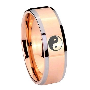 10mm Yin Yang Beveled Edges Rose Gold Tungsten Carbide Mens Promise Ring