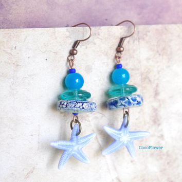 Beach Blue Starfish earrings Artisan Ceramic earring Czech glass beads organic unusual Jewelry