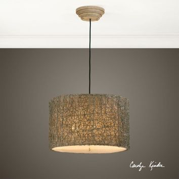 Knotted Rattan Light Drum Pendant By Uttermost