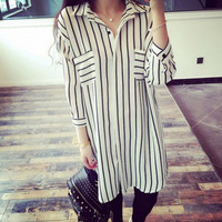 Korean Style New Womens Spring Summer Fashion OL 3/4 Sleeve Shirt Striped Long Blouses Loose Tops 2 Colors