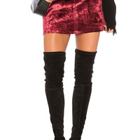 BLANKNYC Velvet Mini Skirt in Red