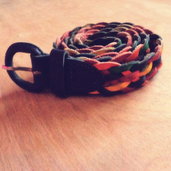 Vintage Rainbow Braided Leather Belt