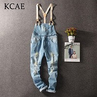 2017 New Fashion Mens Bib Overalls Length Stylish Ripped Denim Overalls Men Distressed Jeans Jumpsuits For Men Bib Jeans Pants