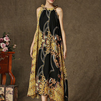 Black Vintage Print Halter Maxi Dress