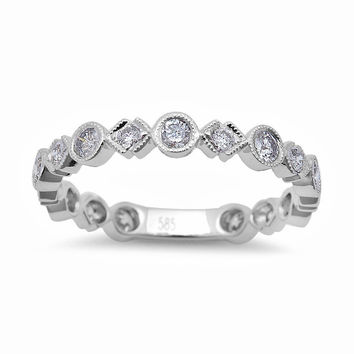 0.60tcw Round Diamonds in 14K White Gold Wedding Anniversary Band Ring